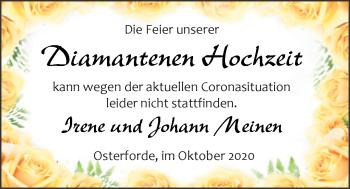 Hochzeitsanzeige von Irene Meinen von NWZ