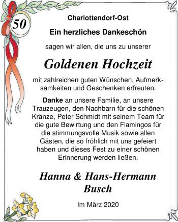 Hochzeitsanzeige von Hanna Busch von NWZ