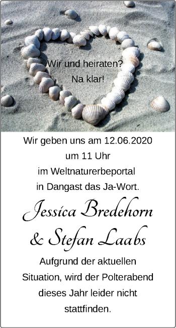Hochzeitsanzeige von Jessica Bredehorn von NWZ