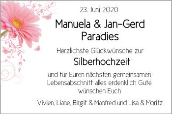 Hochzeitsanzeige von Manuela Paradies von NWZ