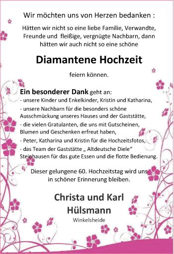 Hochzeitsanzeige von Christa Hülsmann von NWZ