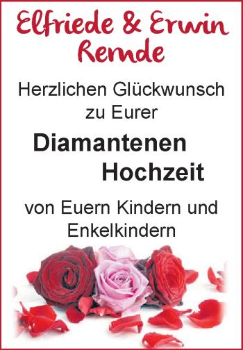 Hochzeitsanzeige von Elfriede Remde von NWZ