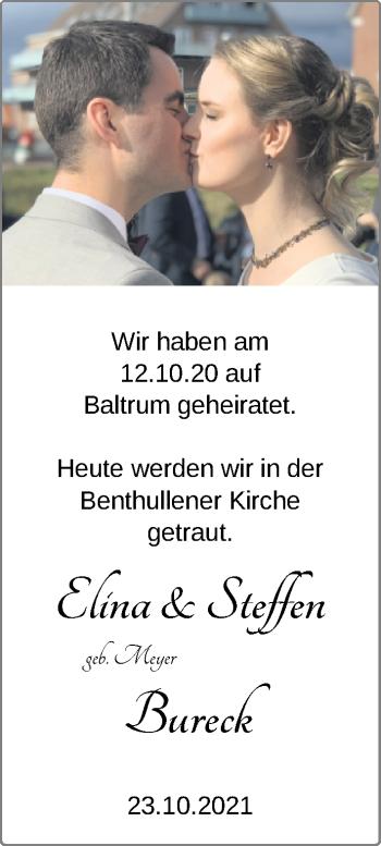 Hochzeitsanzeige von Elina Bureck von NWZ