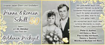Hochzeitsanzeige von Hanna Schill von EZ