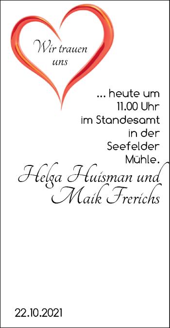 Hochzeitsanzeige von Helga Huisman von NWZ