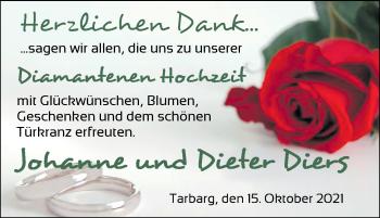 Hochzeitsanzeige von Johanne Diers von NWZ