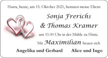 Hochzeitsanzeige von Sonja Frerichs von EZ