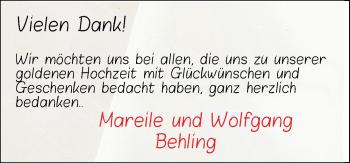Hochzeitsanzeige von Wolfgang Behling von NWZ