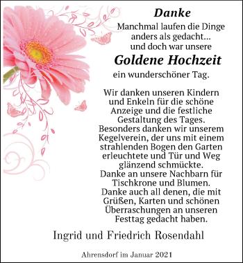 Hochzeitsanzeige von Ingrid Rosendahl von NWZ