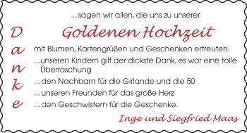 Hochzeitsanzeige von Inge Maas von NWZ