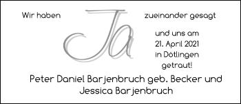 Hochzeitsanzeige von Peter Daniel Barjenbruch von NWZ