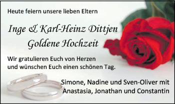 Hochzeitsanzeige von Inge Dittjen von NWZ