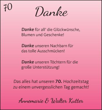 Hochzeitsanzeige von Annemarie Kutter von NWZ