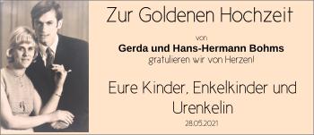 Hochzeitsanzeige von Gerda Bohms von NWZ