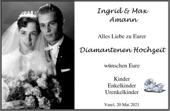 Hochzeitsanzeige von Ingrid Amann von NWZ
