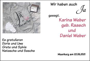 Hochzeitsanzeige von Karina Weber von NWZ