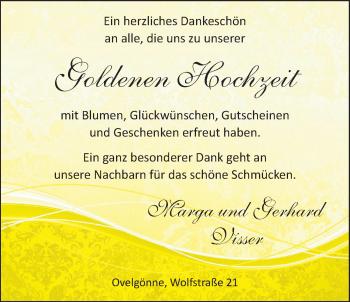 Hochzeitsanzeige von Marga Visser von NWZ