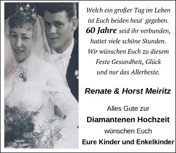 Hochzeitsanzeige von Renate Meiritz von NWZ