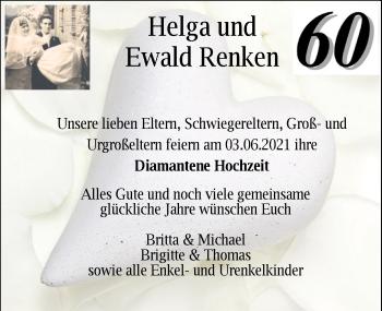 Hochzeitsanzeige von Helga Renken von NWZ