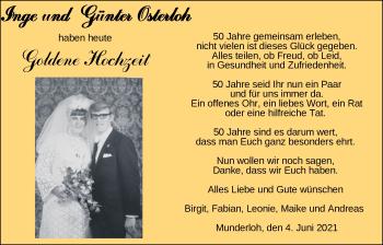 Hochzeitsanzeige von Inge Osterloh von NWZ