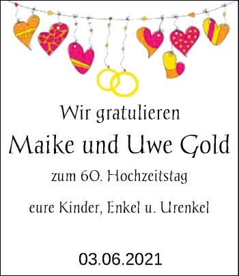 Hochzeitsanzeige von Maike Gold von NWZ