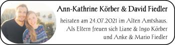 Hochzeitsanzeige von Ann-Kathrine Fiedler von NWZ