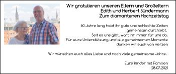 Hochzeitsanzeige von Edith Sündermann von NWZ