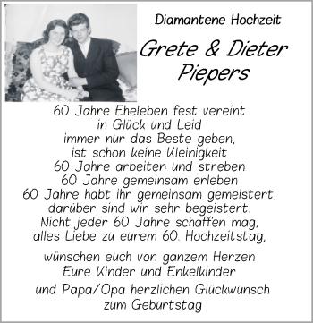 Hochzeitsanzeige von Grete Piepers von NWZ