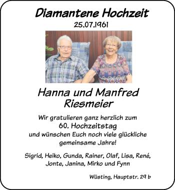 Hochzeitsanzeige von Hanna Riesmeier von NWZ