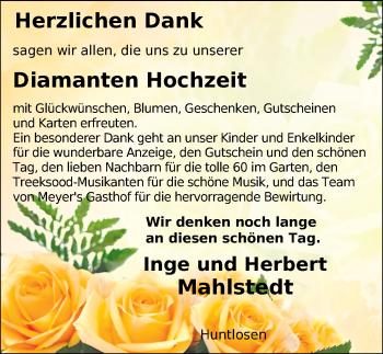 Hochzeitsanzeige von Inge Mahlstedt von NWZ
