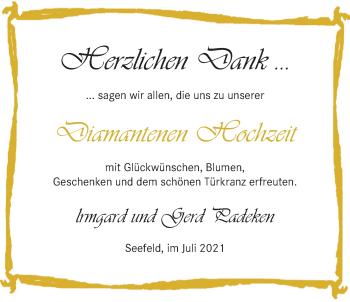 Hochzeitsanzeige von lrmgard Padeken von NWZ