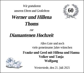 Hochzeitsanzeige von Werner Thoms von NWZ