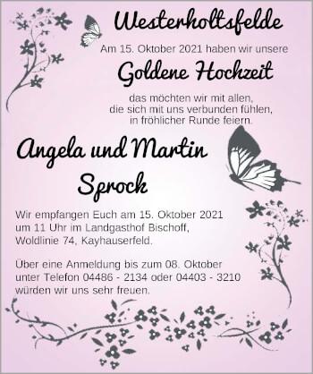 Hochzeitsanzeige von Angela Sprock von NWZ