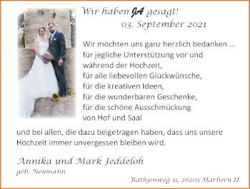 Hochzeitsanzeige von Annika Jeddeloh von NWZ