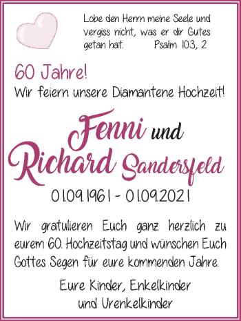 Hochzeitsanzeige von Fenni Sandersfeld von NWZ