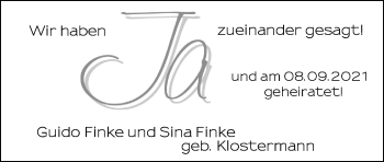 Hochzeitsanzeige von Guido Finke von NWZ