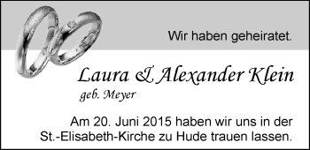 Hochzeitsanzeige von Laura Klein von Nordwest-Zeitung