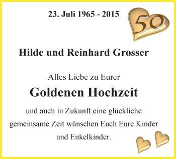 Hochzeitsanzeige von Hilde Grosser von Nordwest-Zeitung