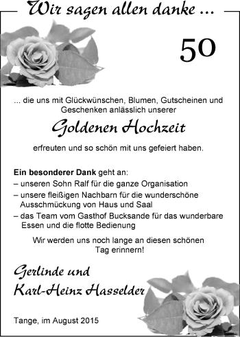 Hochzeitsanzeige von Gerlinde Hasselder von Nordwest-Zeitung