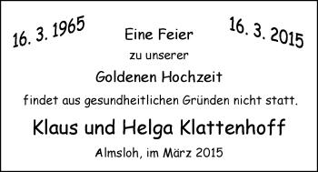 Hochzeitsanzeige von Helga Klattenhoff von Nordwest-Zeitung