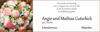 Hochzeitsanzeige von Angie Gutschick von Nordwest-Zeitung