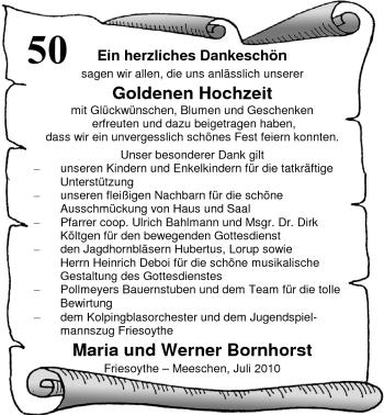 Hochzeitsanzeige von Maria Bornhorst von Nordwest-Zeitung