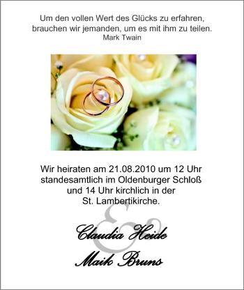 Hochzeitsanzeige von Claudia Heide von Nordwest-Zeitung