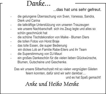 Hochzeitsanzeige von Anke  von Nordwest-Zeitung