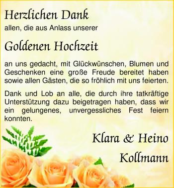 Hochzeitsanzeige von Klara  von Nordwest-Zeitung