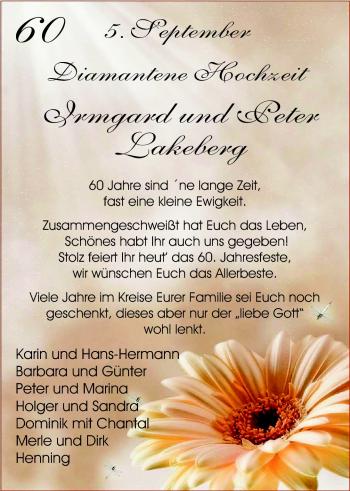 Hochzeitsanzeige von Irmgard Lakeberg von Nordwest-Zeitung