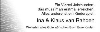 Hochzeitsanzeige von Ina van Rahden von Nordwest-Zeitung