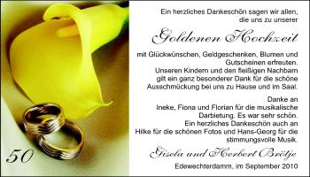 Hochzeitsanzeige von Gisela Brötje von Nordwest-Zeitung
