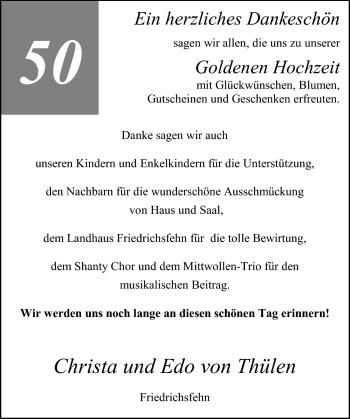Hochzeitsanzeige von Christa von Thülen von Nordwest-Zeitung
