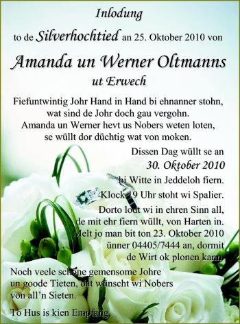 Hochzeitsanzeige von Amanda Oltmanns von Nordwest-Zeitung
